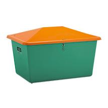 Streugutbehälter, ohne Entnahmeöffnung, grün/orange, bis 1100 L