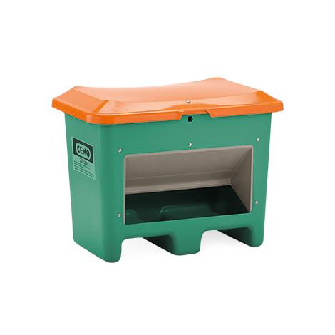 Streugutbehälter Plus3. Grün/orange mit Entnahmeöffnung