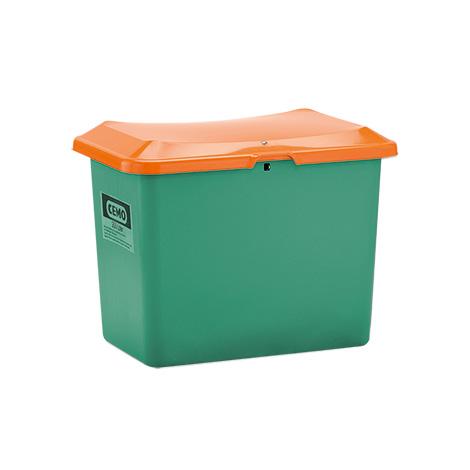 Streugutbehälter Plus3. Grün/orange ohne Entnahmeöffnung