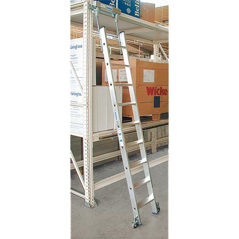 Stufen-Regalleiter KRAUSE ® für Rundrohr-Schiene. Mit Rollen