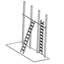 Stufen-Regalleitern, einhängbar. Arbeitshöhe bis 4,80 m