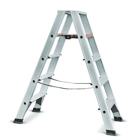 Stufen-Stehleiter Ameise ®. Beidseitig besteigbar. Standhöhe bis 3 m.