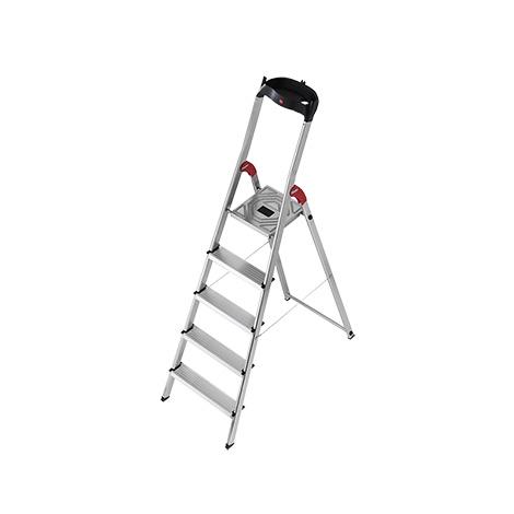 Stufen-Stehleiter Hailo ® mit Plattform und Ablagebügel. Einseitig besteigbar