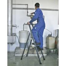 Stufen-Stehleiter KRAUSE®, 1-seitig begehbar, eloxiertes Aluminium