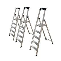 Stufen-Stehleiter KRAUSE®, hochfest gebördelt aus Aluminium, Set