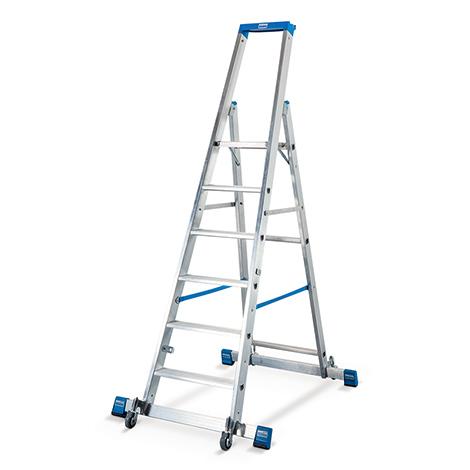 Stufen-Stehleiter KRAUSE ® mit Rollen. Einseitig besteigbar