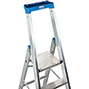Stufen-Stehleiter KRAUSE ® mit Rollen + Plattform. Einseitig besteigbar