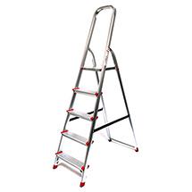 Stufen-Stehleiter mit Plattform und Bügel. Einseitig besteigbar