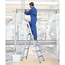 Stufen-Stehleiter ZARGES inklusive Ablageschale. Einseitig besteigbar