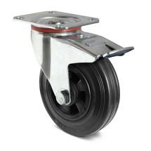 Stuurwiel Basic van volrubber op PP-velgen, m. vastzetrem. Capaciteit 70- 205 kg