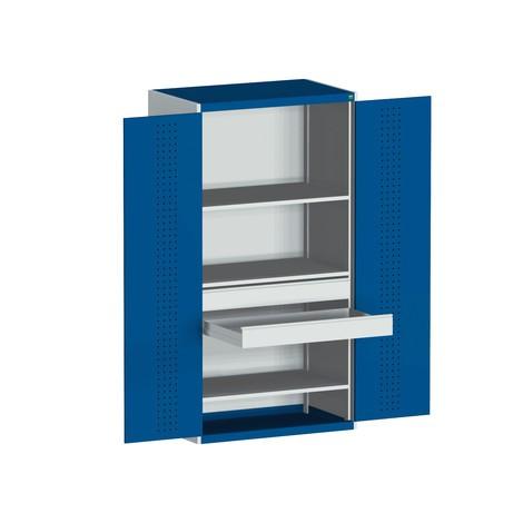 Systeem klapdeurgarderobe bott cubio met 1 plank, 4 laden, 1 inlegplaat, HxBxD 2.000 x 1.050 x 650 mm