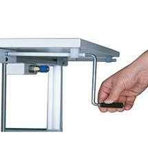 System-Arbeitstisch, Höhenverstellung per Kurbel, Breite 1500 mm