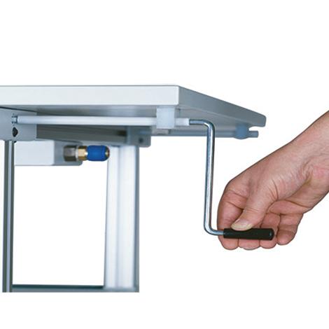 System-Arbeitstisch, Höhenverstellung per Kurbel, Breite 3000 mm