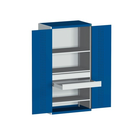 System hængslet dørskab bott cubio med 3 mellembund, 2 skuffer, HxBxD 2.000 x 1.050 x 650 mm