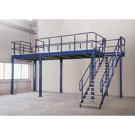 Système de plates-formes de stockage modulaire, module de base 350 kg/m², Lxl 4000 à 5000 mm