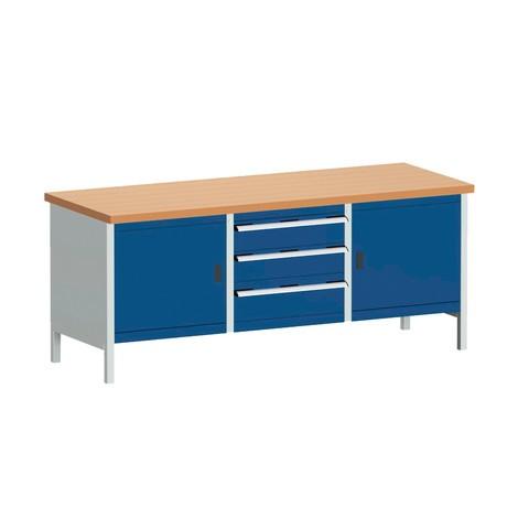 Systémový pracovný stôl bott cubio s 3 zásuvkami + 2 dvere, V x Š x H 840 × 2,000 × 750 mm, pracovná doska červená buk