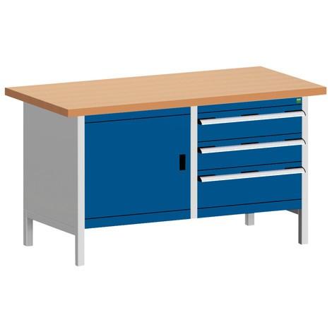 Systémový pracovný stôl bott cubio s 3 zásuvkami+dverami, V x Š x H 840 × 1,500 × 750 mm, pracovná doska červená buk