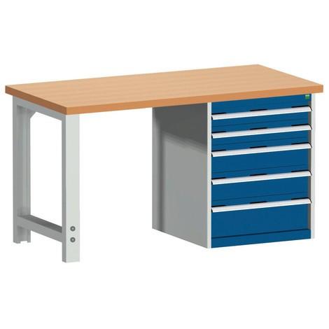 Systémový pracovný stôl bott cubio s 5 zásuvkami, V×D 840 × 1 500 × 750 mm, pracovná doska červená buk