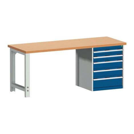 Systémový pracovný stôl bott cubio s 5 zásuvkami, V×D 840 × 2,000 × 750 mm, pracovná doska červená buk