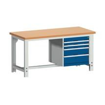 Systémový pracovný stôl bott cubio so 4 zásuvkami, V x Š x H 740-1,140 × 1 500 × 750 mm, pracovná doska buk