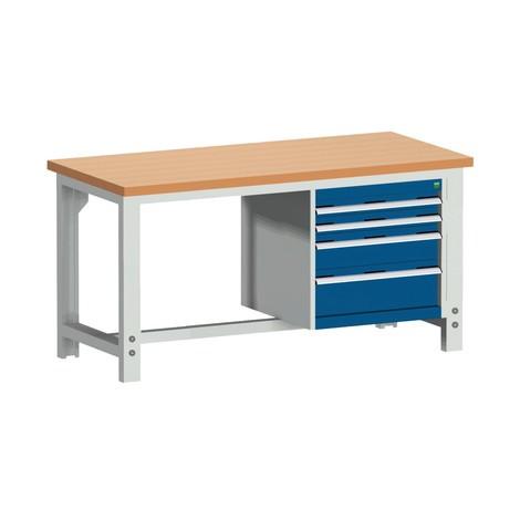 Systémový pracovný stôl bott cubio so 4 zásuvkami, V x Š x H 740-1,140 × 1 500 × 750 mm, pracovná doska červená buk
