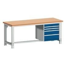 Systémový pracovný stôl bott cubio so 4 zásuvkami, V x Š x H 740-1,140 × 2,000 × 750 mm, pracovná doska červená buk