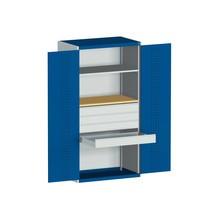 Systemowa szafa z drzwiami skrzydłowymi bott cubio z 1 półką, 4 szuflady, 1 wkładana płyta, wys. x szer. x gł. 2000 x 1050 x 650 mm