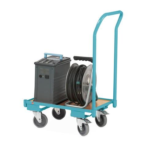 Systemowy transporter na kółkach do pojemników Euro Ameise®, z pałąkiem do pchania