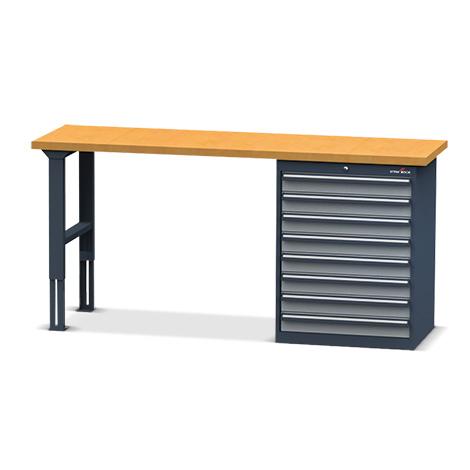 Systemwerkbänke Steinbock® mit Schubladenblock. Gesamtbreite 2000 mm