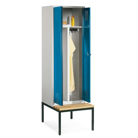 Szafa na ubrania C+PClassic zławką, zpodwójną komorą, 2 komory à 300 mm, 2 drzwi zzamkiem cylindrycznym