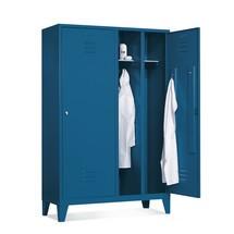 Szafa na ubrania C+PClassic zpodwójną komorą, nóżki izamek cylindryczny, wys. xszer. xgł. 1850 x1190 x500 mm