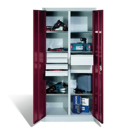 Szafa narzędziowa C+P, szuflady 4x86 + 2x174 mm, 6 półek, szerokość 1200 mm