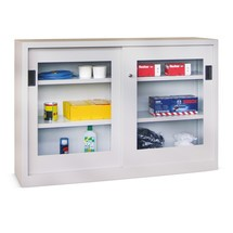 Szafa z drzwiami przesuwnymi PAVOY z okienkami, 2 półki, wys. xszer. xgł. 1000 x1000 x600 mm