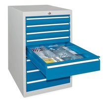 Szafa z szufladami PAVOY, wysokość 1000 mm, szuflady 8 x 75 + 1 x 100 + 1 x 200 mm, szerokość 500 mm