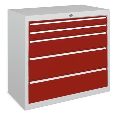 Szafa z szufladami PAVOY, wysokość 800 mm, szuflady 6 x 75 + 1 x 100 + 1 x 150 mm, szerokość 715 mm
