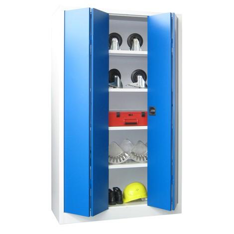 Szafa ze składanymi drzwiami PAVOY z 4 półkami, wys. xszer. xgł. 1950 x1200 x400 mm