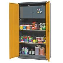 szafka chemiczna i toksyczna ze skrzynki ką bezpieczeństwa typu 30, asecos®, 2 półki, 1 dolna taca