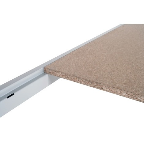 Tablette pour rayonnage grande portée, avec panneaux agglomérés, bleu clair/gris clair