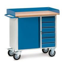 Établi roulant fetra®, placard + tiroirs, avec rebord en tôle