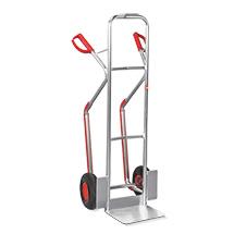 Taczki transportowe aluminiowe Ameise® z płozami ślizgowymi. Udźwig 200 kg. Platforma 32 x 24 cm. Różne koła.