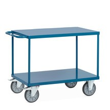 Tafel- en montagewagen fetra® met legborden van plaatstaal