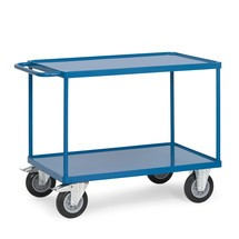 Tafel- en montagewagen fetra® met lekbakken van plaatstaal
