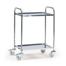 Tafel-serveerwagen van roestvrij staal met 2 borden. Capaciteit tot 160kg