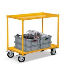 Tafelwagen Ameise ® met 2 stalen kuipen, laadvlak 840x450mm. Capaciteit 250 kg