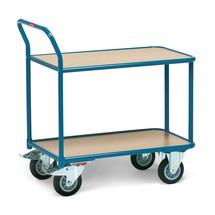 Tafelwagen fetra®. 2 houten borden + 1 duwbeugel, capaciteit 400 kg