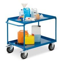 Tafelwagen fetra®. 2 kuipen van plaatstaal+horizontale beugel. Capaciteit 400kg