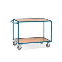 Tafelwagen fetra®. 3 houten legborden + horizontale beugel, capaciteit 250 kg