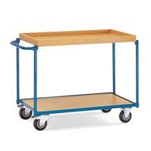 Tafelwagen met 1 houten legbord en 1 houten bak. Hoogte 85 cm