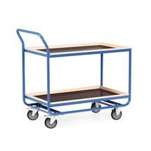 Tafelwagen van buizenstaal, cap. 300 kg, 2 etages van 1.010 x 610 mm, met beuken lijst 30 mm hoog