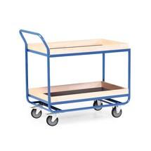 Tafelwagen van buizenstaal, cap. 300 kg, 2 etages van 1.010 x 610 mm, met beuken lijst 75 mm hoog